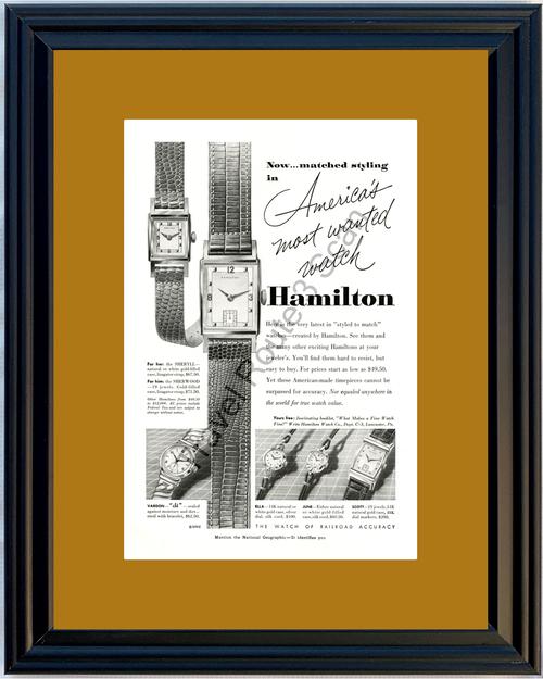 1952 Hamilton Watch Wristwatch Vintage Ad Wrist Sheryll Sherwood 52 *You Choose Frame-Mat Colors-Free USA S&H*