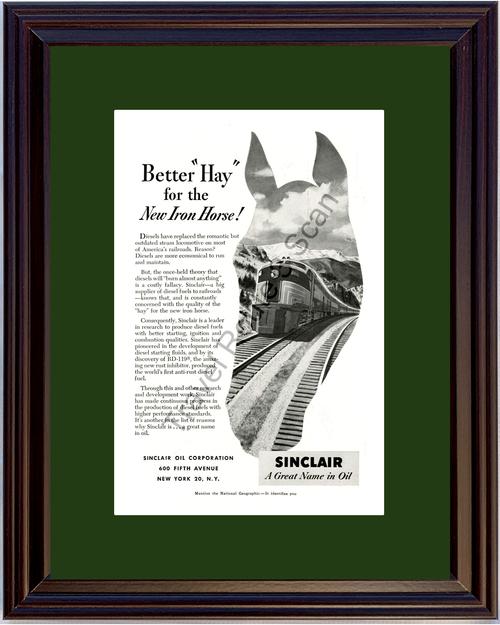 1952 52 Sinclair Oil Iron Horse Diesel Engine Railroad Rail Road Train Vintage Ad