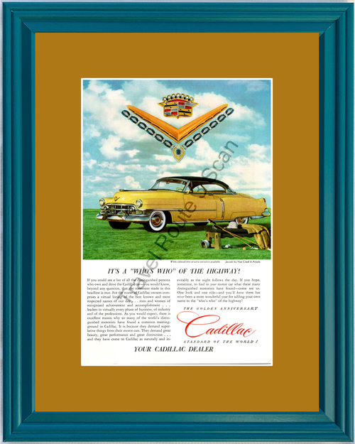 1952 Cadillac Coupe de Ville Vintage Ad 52 Golden Anniversary Polo Van Cleaf and Arpels Jewelry *You Choose Frame-Mat Colors-Free USA S&H*