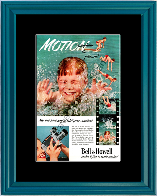 1952 Bell & Howell Movie Camera Vintage Ad Motion Picture Film Video Vacation 52 *You Choose Frame-Mat Colors-Free USA S&H*