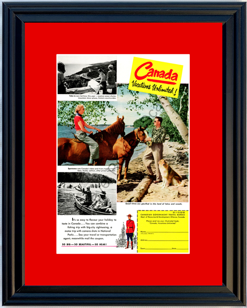 1952 Canada Canadian Vacation Vintage Ad Horse Back Fishing National Parks Travel 52 *You Choose Frame-Mat Colors-Free USA S&H*