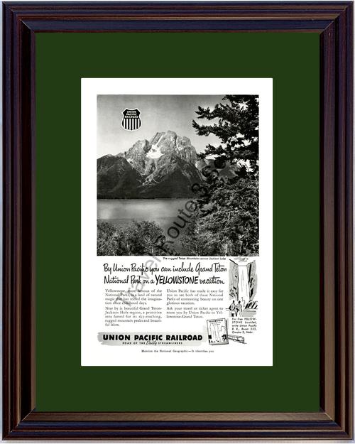 1952 52 Union Pacific Railroad Grand Teton Mountains Yellowstone Travel Vintage Ad