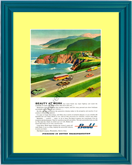 1952 Budd Pioneers in Better Transportation Vintage Ad Truck Tractor Trailer Car Automobile 52 *You Choose Frame-Mat Colors-Free USA S&H*