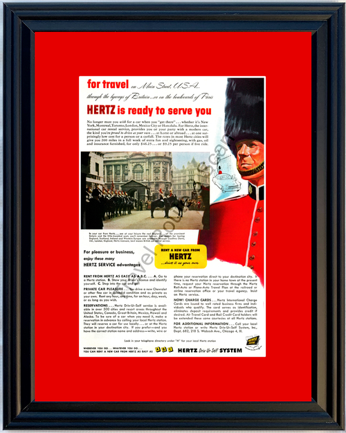 1952 Hertz Rent A Car Britain England Vintage Ad Scotland Ireland Travel Vacation 52 *You Choose Frame-Mat Colors-Free USA S&H*