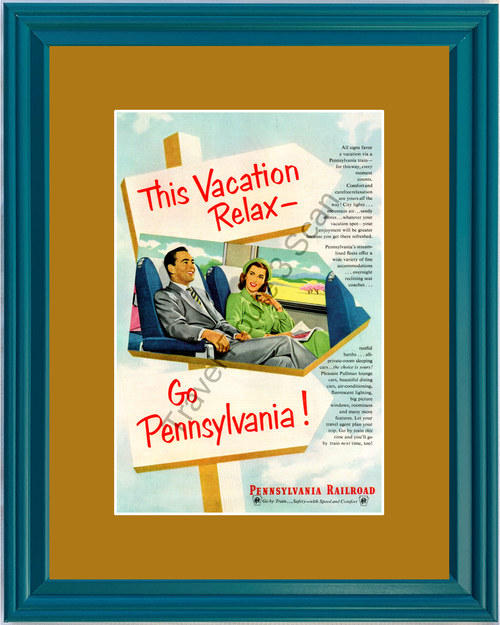 1952 52 Pennsylvania Railroad Rail Road Train Vacation Travel Vintage Ad