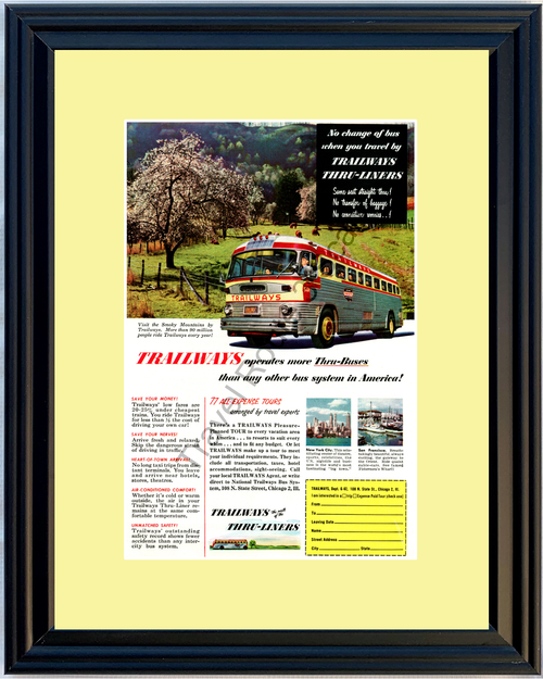 1952 Trailways Thru-Liners Bus Vintage Ad Buses Smoky Mountains Travel Vacation 52 *You Choose Frame-Mat Colors-Free USA S&H*
