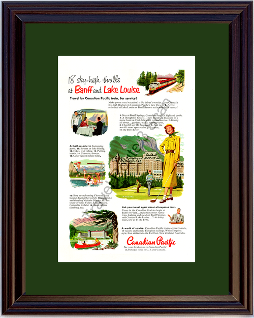1952 Canadian Pacific Banff Springs Vintage Ad Lake Louise Canada Train Travel Vacation 52 *You Choose Frame-Mat Colors-Free USA S&H*