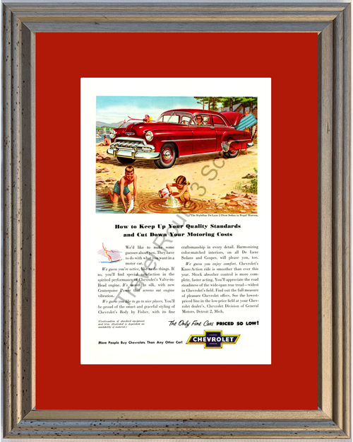 1952 Chevrolet Styleline Vintage Ad 52 Chevy De Luxe 2-Door Sedan Children Beach Fun Water Skiing Ski *You Choose Frame-Mat Colors-Free USA S&H*