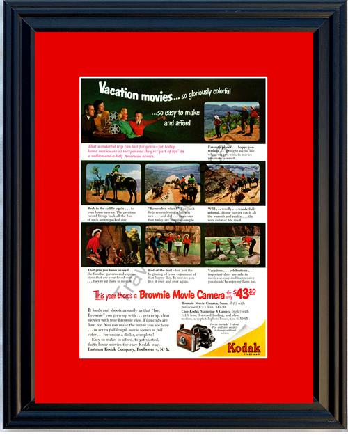 1952 52 Kodak Brownie 8mm Movie Camera Eastman Film Vacation Vintage Ad