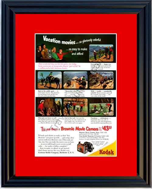 1952 Kodak Brownie 8mm Movie Camera Vintage Ad Eastman Film Vacation 52 *You Choose Frame-Mat Colors-Free USA S&H*