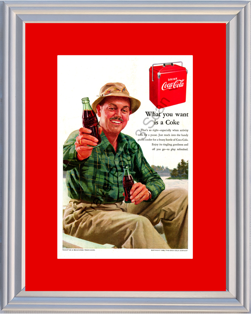 1952 Coca Cola Vintage Ad What You Want is a Coke Boating Camping 52 *You Choose Frame-Mat Colors-Free USA S&H*