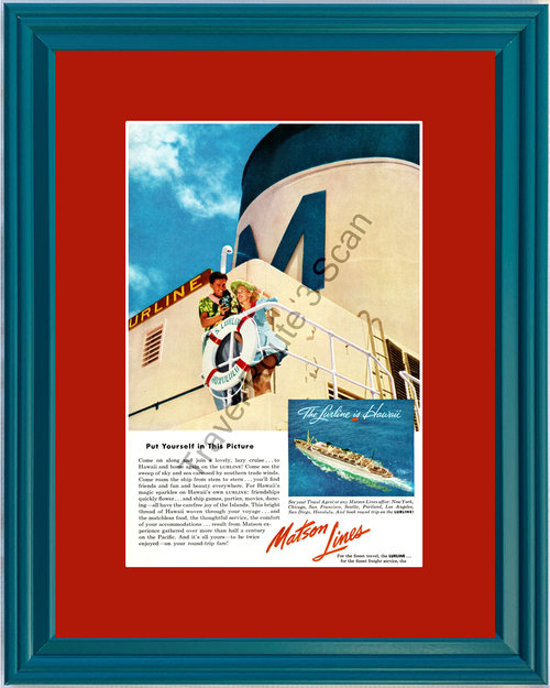 1953 Matson Lines Hawaii Lurline Cruise Vintage Ad Cruising Vacation Travel 53 *You Choose Frame-Mat Colors-Free USA S&H*