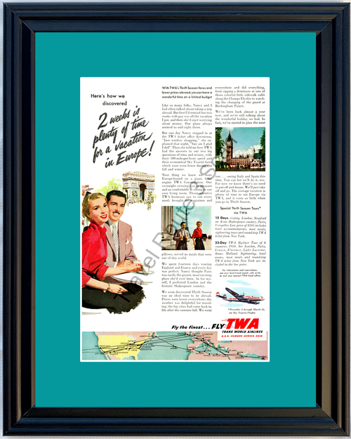 1953 TWA Trans World Airlines Vintage Ad Airplane Air Plane Europe Vacation Travel 53 *You Choose Frame-Mat Colors-Free USA S&H*
