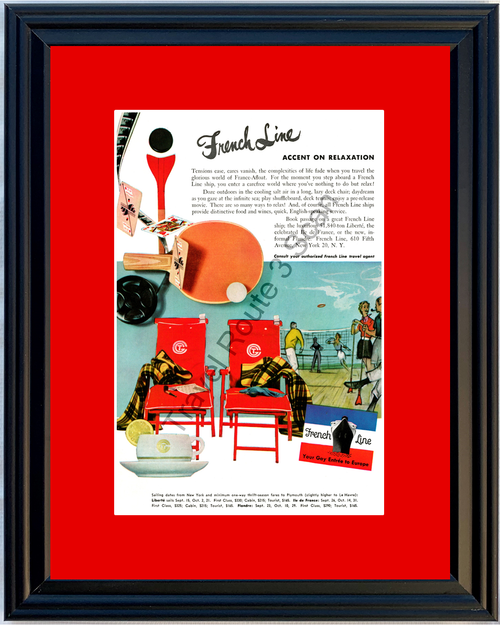 1953 French Line France Afloat Cruise Vintage Ad Cruising Vacation Travel 53 *You Choose Frame-Mat Colors-Free USA S&H*