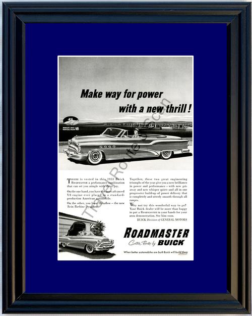 1953 Buick Roadmaster Convertible Vintage Ad 53 Boat Docks V8 Dynaflow *You Choose Frame-Mat Colors-Free USA S&H*