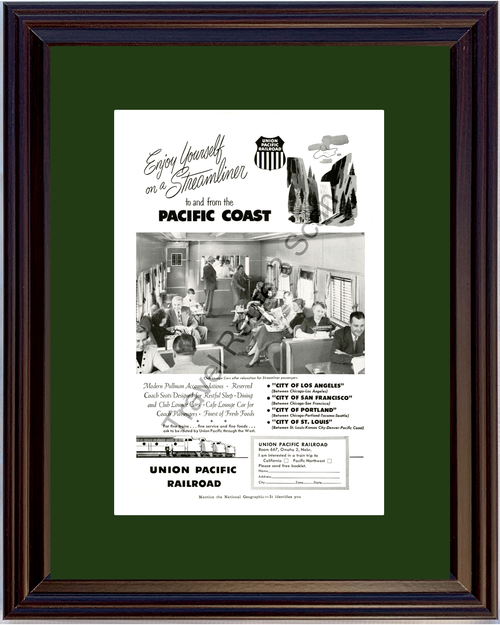 1953 Union Pacific Railroad Vintage Ad Coast Train Vacation Travel 53 *You Choose Frame-Mat Colors-Free USA S&H*