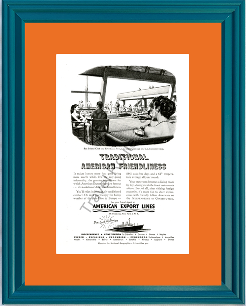 1953 American Export Lines Cruise Vintage Ad Cruising Vacation Travel Europe 53 *You Choose Frame-Mat Colors-Free USA S&H*