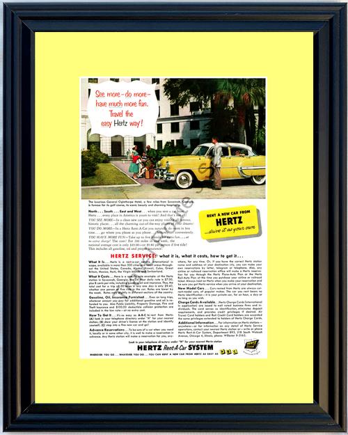 1953 Hertz Chevrolet Chevy Vintage Ad Oglethorpe Hotel Savannah Georgia GA Travel Vacation Rental Car 53 *You Choose Frame-Mat Colors-Free USA S&H*