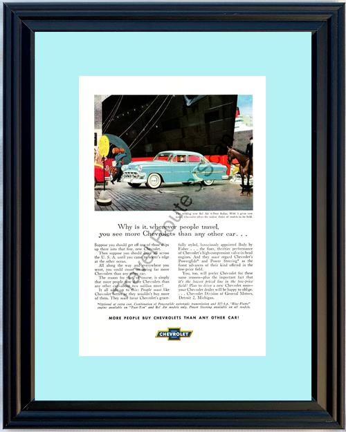 1953 53 Chevrolet Chevy Bel Air 4-Door Sedan Ship Blue Belair Vintage Ad