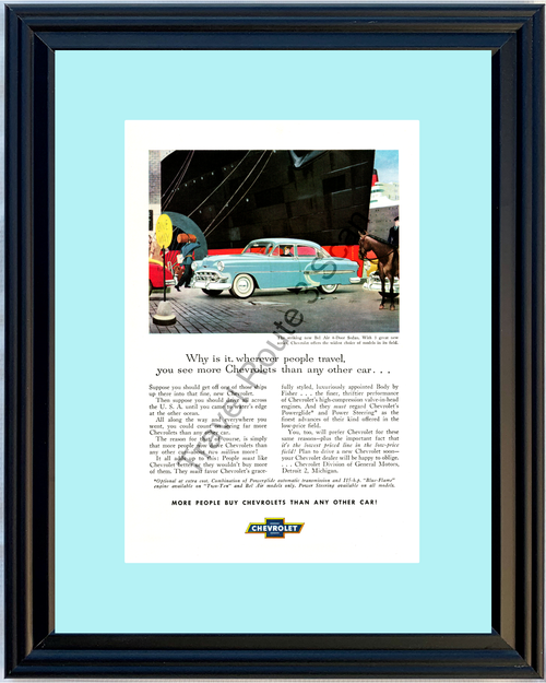 1953 Chevrolet Bel Air Vintage Ad 53 Chevy 4-Door Sedan Ship Blue Belair 53 *You Choose Frame-Mat Colors-Free USA S&H*