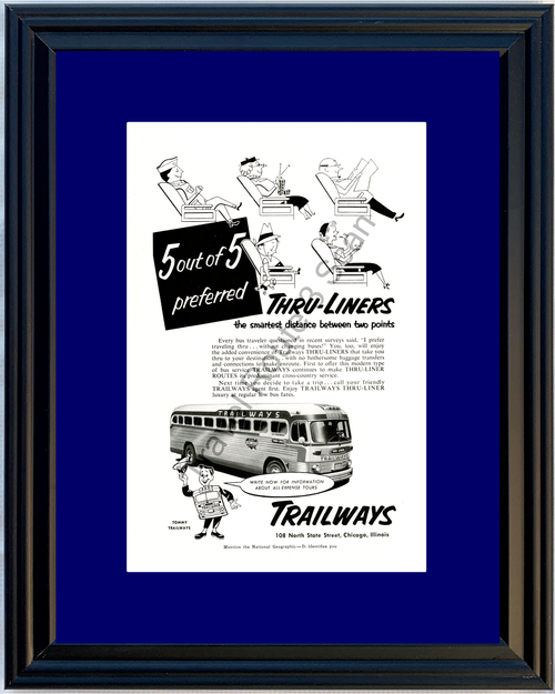 1953 Trailways Bus Vintage Ad Thru-Liner Travel Tommy Tours 53 *You Choose Frame-Mat Colors-Free USA S&H*
