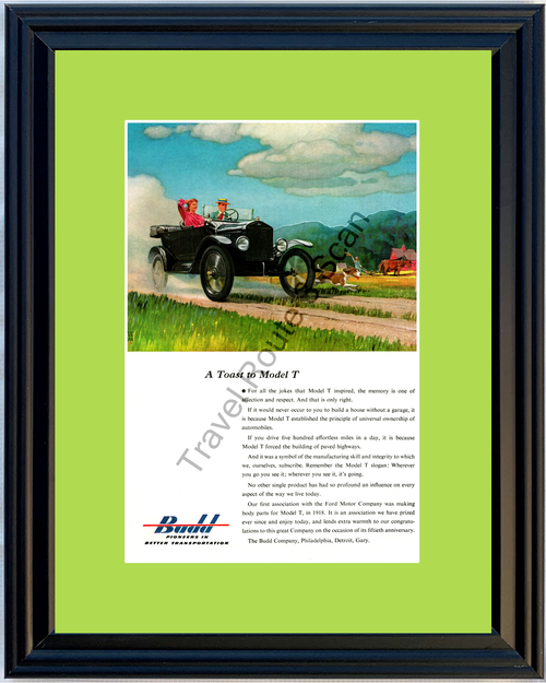 1953 Budd Ford Model T Toast Vintage Ad Pioneers in Better Transportation Farm Scene 53 *You Choose Frame-Mat Colors-Free USA S&H*