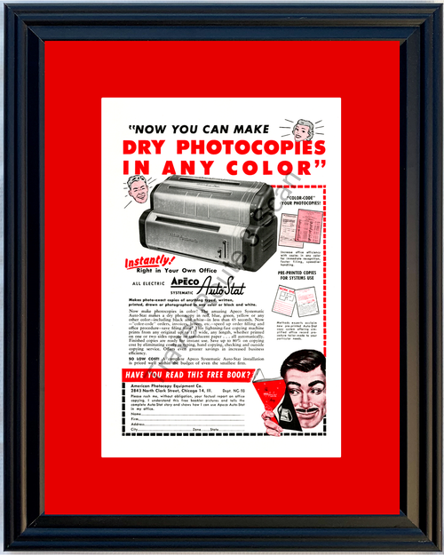 1953 American Photocopy Equipment Vintage Ad Copying Machine Color Apeco Auto-Stat 53 *You Choose Frame-Mat Colors-Free USA S&H*