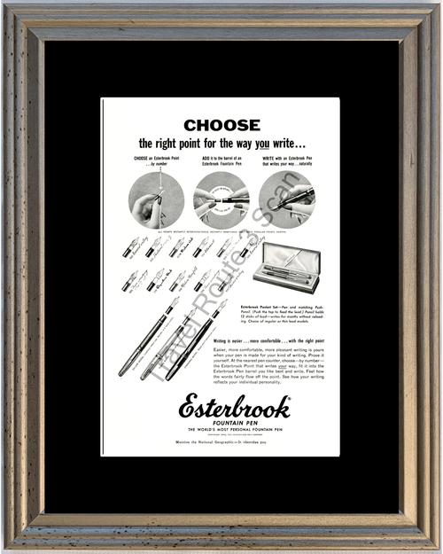 1953 Esterbrook Fountain Pen Vintage Ad Ink Calligraphy Pocket Set 53 *You Choose Frame-Mat Colors-Free USA S&H*