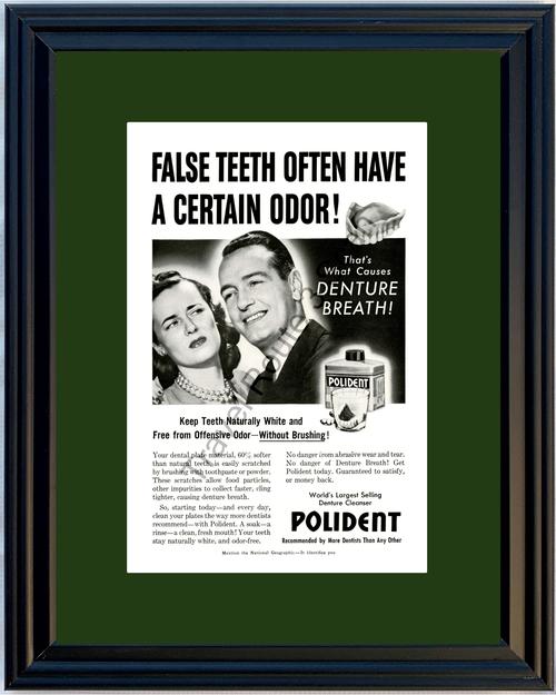 1953 Polident Denture False Teeth Vintage Ad Funny Bad Breath Dentist 53 *You Choose Frame-Mat Colors-Free USA S&H*