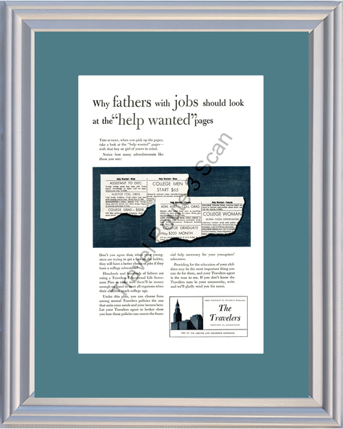 1953 53 The Travelers Life Insurance Father College Education Vintage Ad