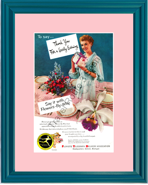 1953 FTD Florists Telegraph Delivery Flower Delivery Vintage Ad Speedy Thank You 53 *You Choose Frame-Mat Colors-Free USA S&H*