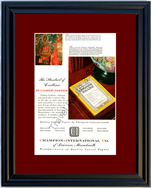 1953 Champion International Vintage Ad National Geographic Magazine Coated Paper 53 *You Choose Frame-Mat Colors-Free USA S&H*