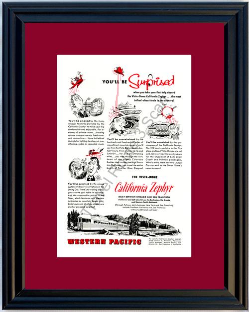 1955 55 California Zephyr Western Pacific Vista-Dome San Francisco Colorado Rockies Train Travel Vintage Ad