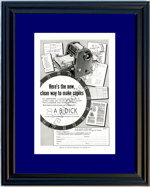 1955 55 A-B-Dick Azograph Copy Copying Duplicating Machine Vintage Ad
