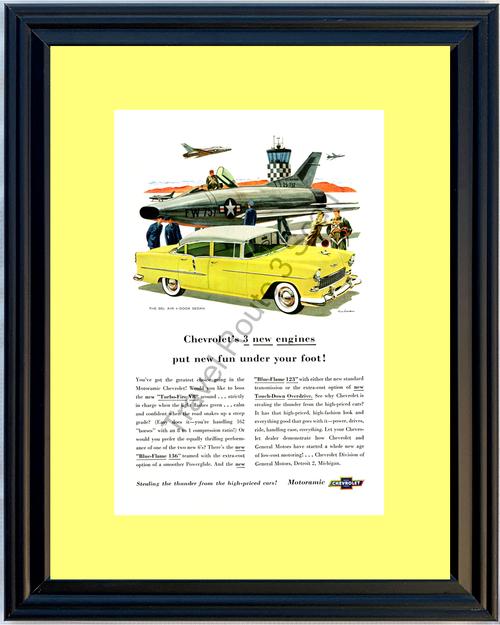 1955 55 Chevrolet Chevy Bel Air 4 Door Sedan Motoramic Jet Fighter Vintage Ad