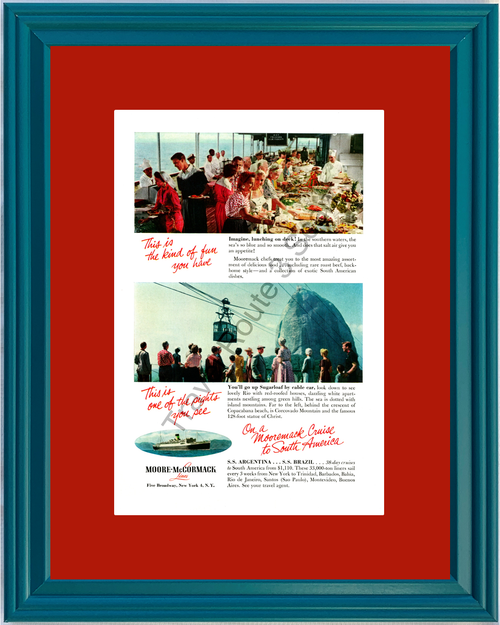 1955 Moore-McCormack Cruise Rio de Janeiro Vintage Ad South America Vacation Travel 55 *You Choose Frame-Mat Colors-Free USA S&H*