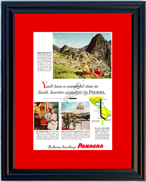 1955 Panagra South America Machu Picchu Vintage Ad Lima Peru Buenos Aires Vacation Travel 55 *You Choose Frame-Mat Colors-Free USA S&H*