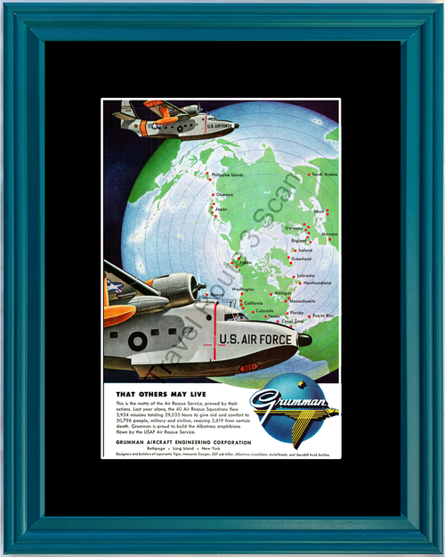 1956 Grumman Aircraft U.S. Air Force Vintage Ad USAF Engineering That Others May Live 56 *You Choose Frame-Mat Colors-Free USA S&H*