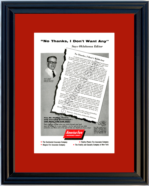 1956 Auto Automobile Holdenville Oklahoma Vintage Ad America Fore Insurance Group Fire 56 *You Choose Frame-Mat Colors-Free USA S&H*