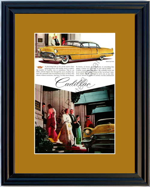 1956 Cadillac de Ville Vintage Ad 56 Caddy 4 Door Hardtop Hotel Mark Hopkins Gowns by Irene *You Choose Frame-Mat Colors-Free USA S&H*