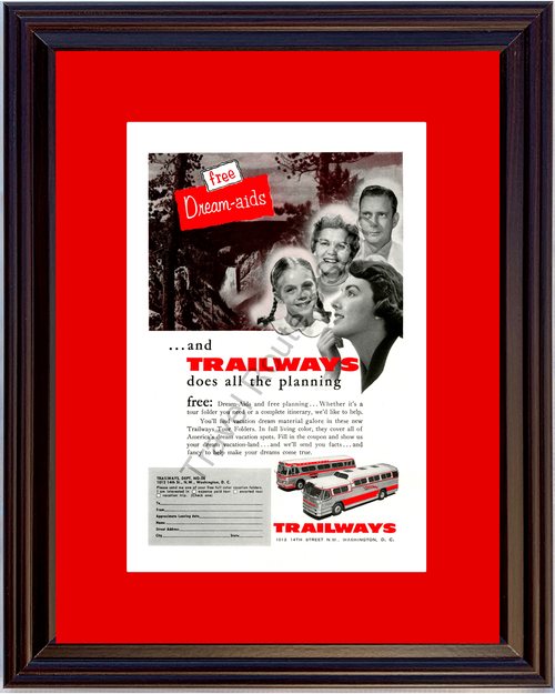 1956 Trailways Bus Tours Vintage Ad Vacation 56 *You Choose Frame-Mat Colors-Free USA S&H*