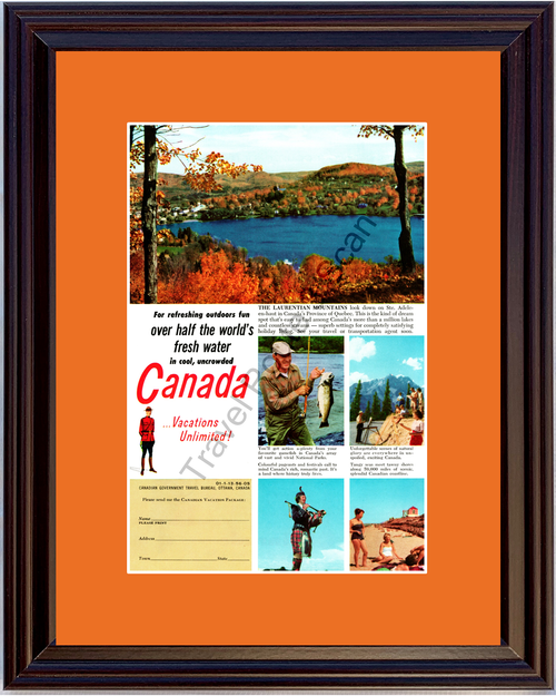 1956 Canada Vacation Laurentian Mountains Vintage Ad Ste. Adeleen-haut Quebec Vacation Travel 56 *You Choose Frame-Mat Colors-Free USA S&H*