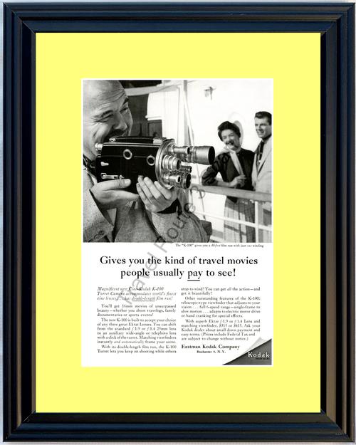 1956 56 Eastman Kodak K-100 Turret 16mm Movie Camera Cine-Kodak Vintage Ad