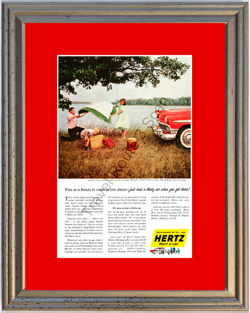 1956 Hertz Chevrolet Vintage Ad 56 Chevy Bel Air Tri-Five Rent a Car Northern Michigan Vacation Travel *You Choose Frame-Mat Colors-Free USA S&H*