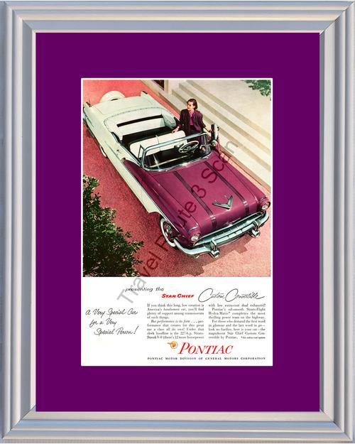 1956 Pontiac Star Chief Vintage Ad 56 Custom Convertible Amethyst Plum Purple Violet *You Choose Frame-Mat Colors-Free USA S&H*