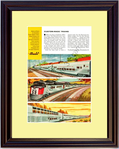 1956 Budd Railway Pennsylvania Vintage Ad New Haven Santa Fe El Capitan 56 *You Choose Frame-Mat Colors-Free USA S&H*
