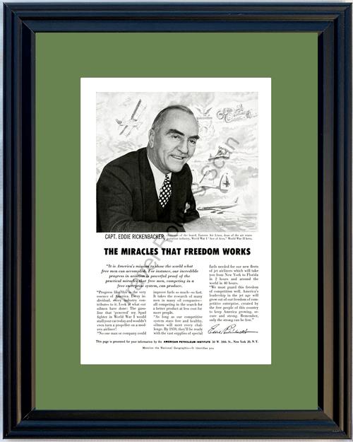 1956 Eastern Air Lines Eddie Rickenbacker Vintage Ad American Petroleum Institute 56 *You Choose Frame-Mat Colors-Free USA S&H*