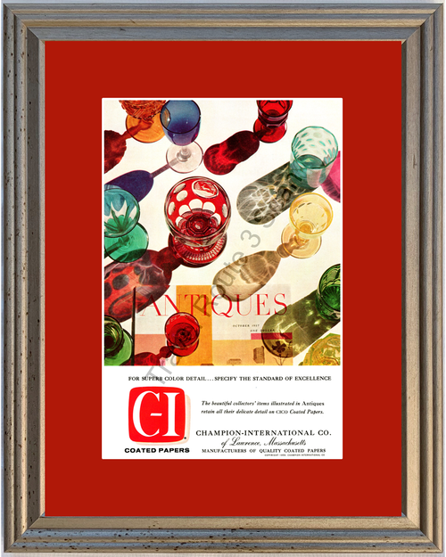 1958 Champion International C-I Coated Papers Vintage Ad Antiques Glasses Cups 58 *You Choose Frame-Mat Colors-Free USA S&H*