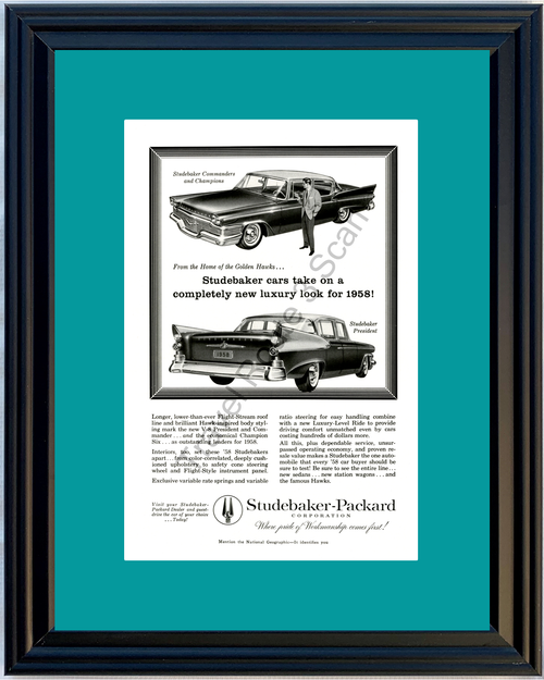 1958 Studebaker Packard Vintage Ad 58 Commander Champion President *You Choose Frame-Mat Colors-Free USA S&H*