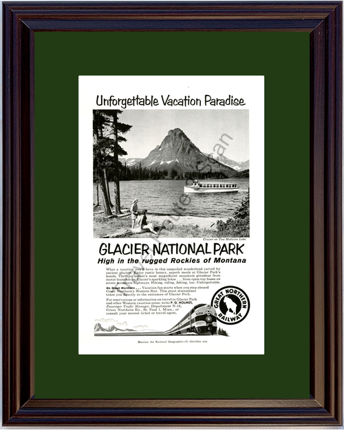 1958 Great Northern Railway Vintage Ad Glacier National Park Montana Vacation Travel 58 *You Choose Frame-Mat Colors-Free USA S&H*